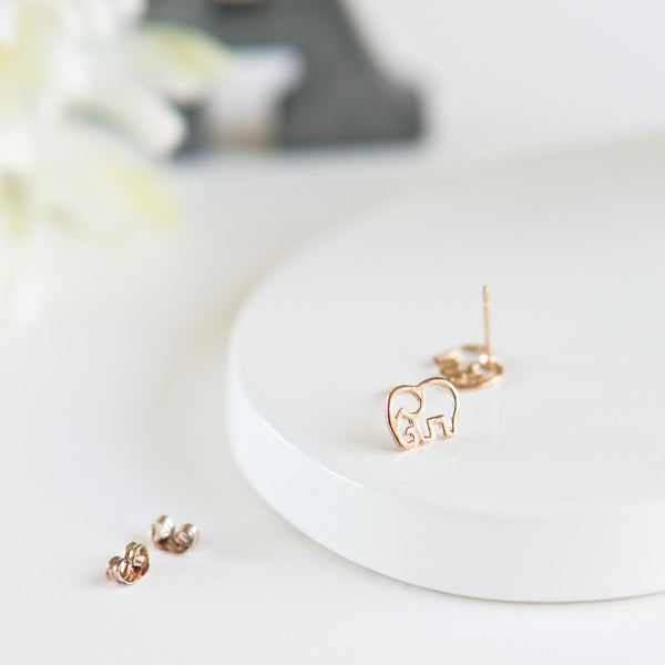 Rose Gold Elephant Stud Earrings - TYPENU Co - 2