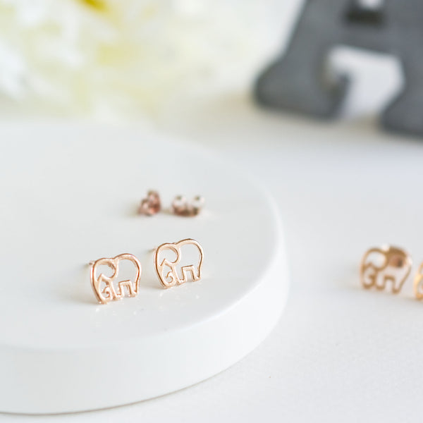 Rose Gold Elephant Stud Earrings - TYPENU Co - 1
