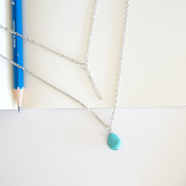Turquoise Drop Layer Necklace - TYPENU Co - 3