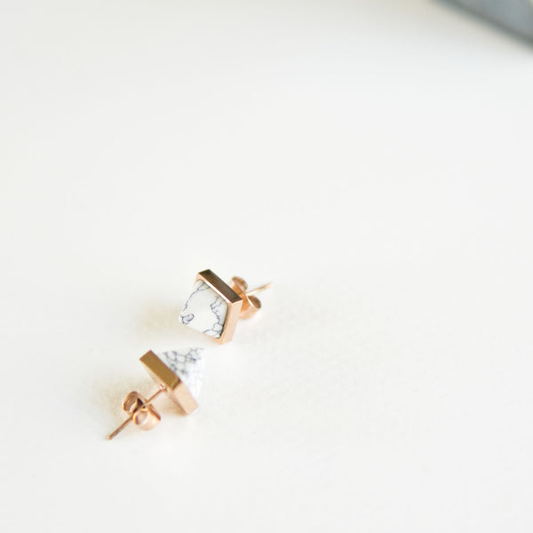 White Marble Spike Stud Earrings - TYPENU Co - 1