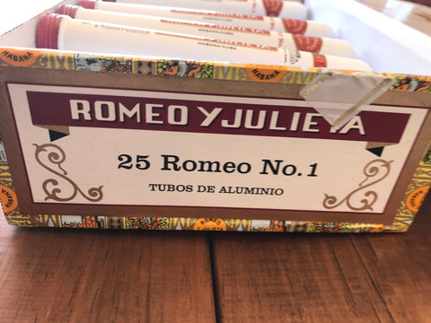Box of 27 Romeo y Julieta 23 x No1 and 4 x No2 Empty Cuban Cigar Tubes - Ideal for Collectors or Concealment