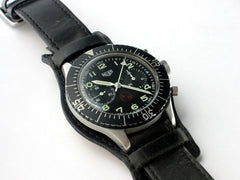 "20mm Black Leather German ""Luftwaffe"" Bund Military Watch Strap"