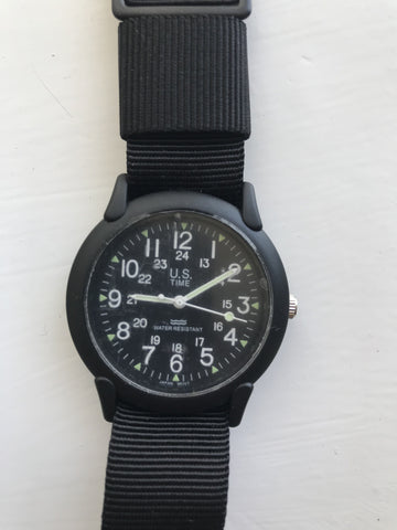2 x U.S Time Classic 1960s/70s Pattern Black Vietnam Watches on Webbing Straps (New but need batteries)