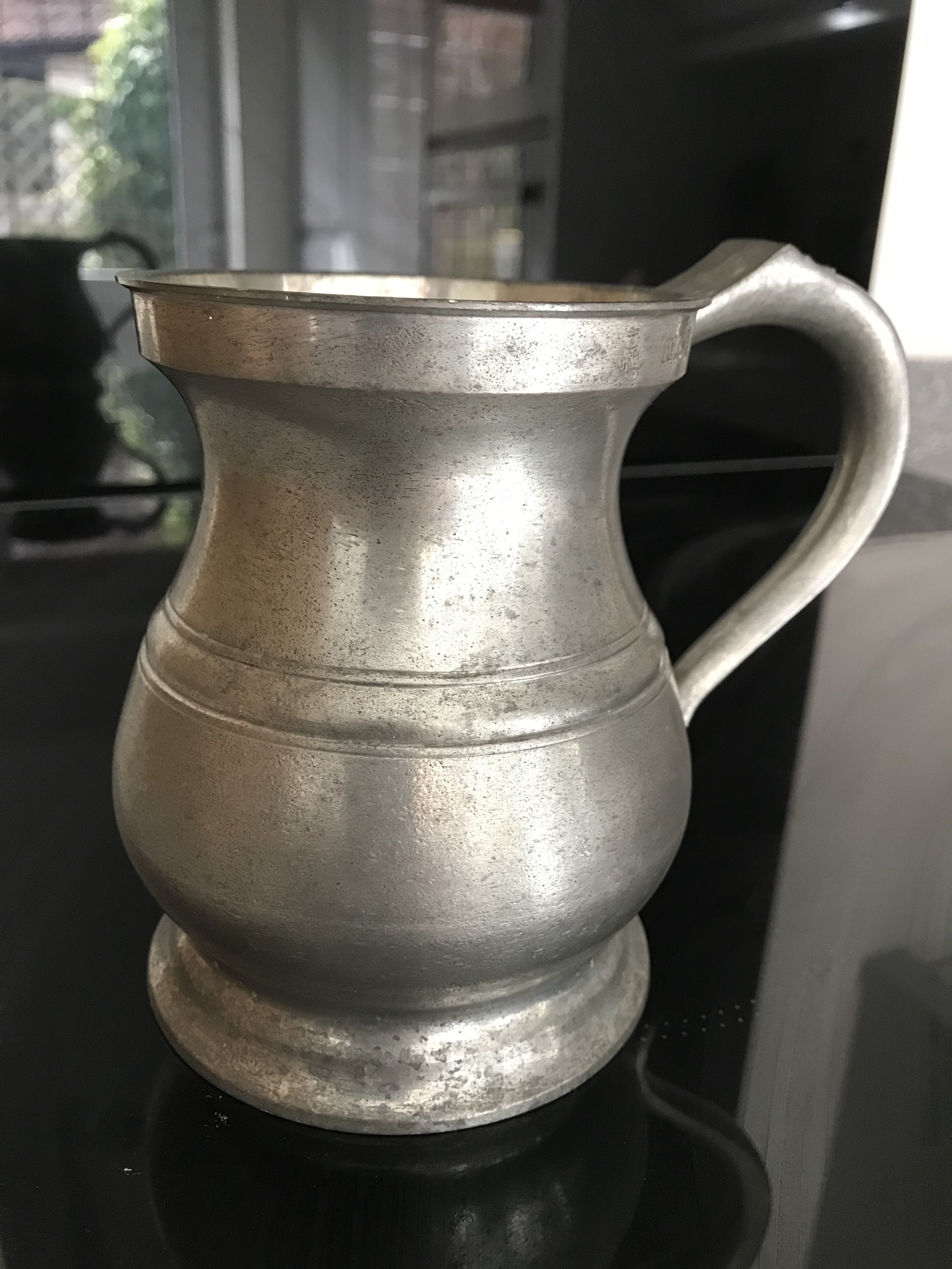 One Pint 19th Century Pattern Pewter Baluster Tankard - This is a Perfect Remake of the original