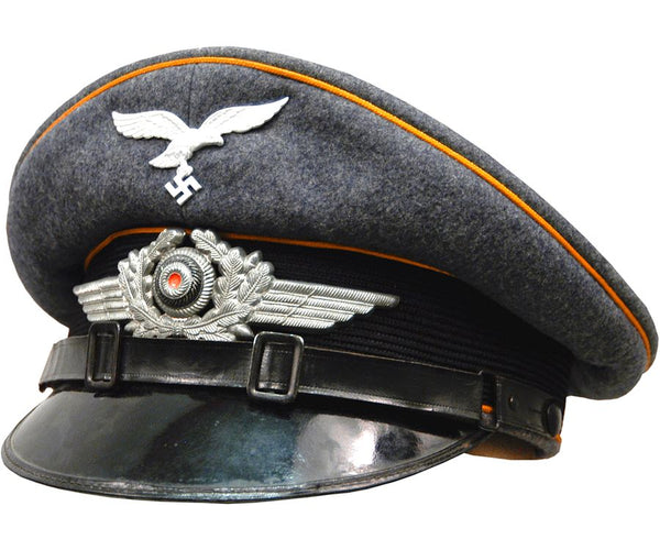 High Quality Reproduction WW2 Luftwaffe Pilots Visor Cap with Gold Piping