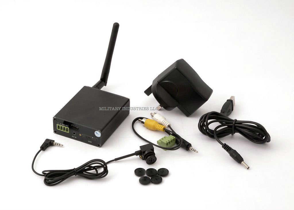 Professional Transmitting 3G Cellular CCTV System with Covert Button Camera and Transmitter
