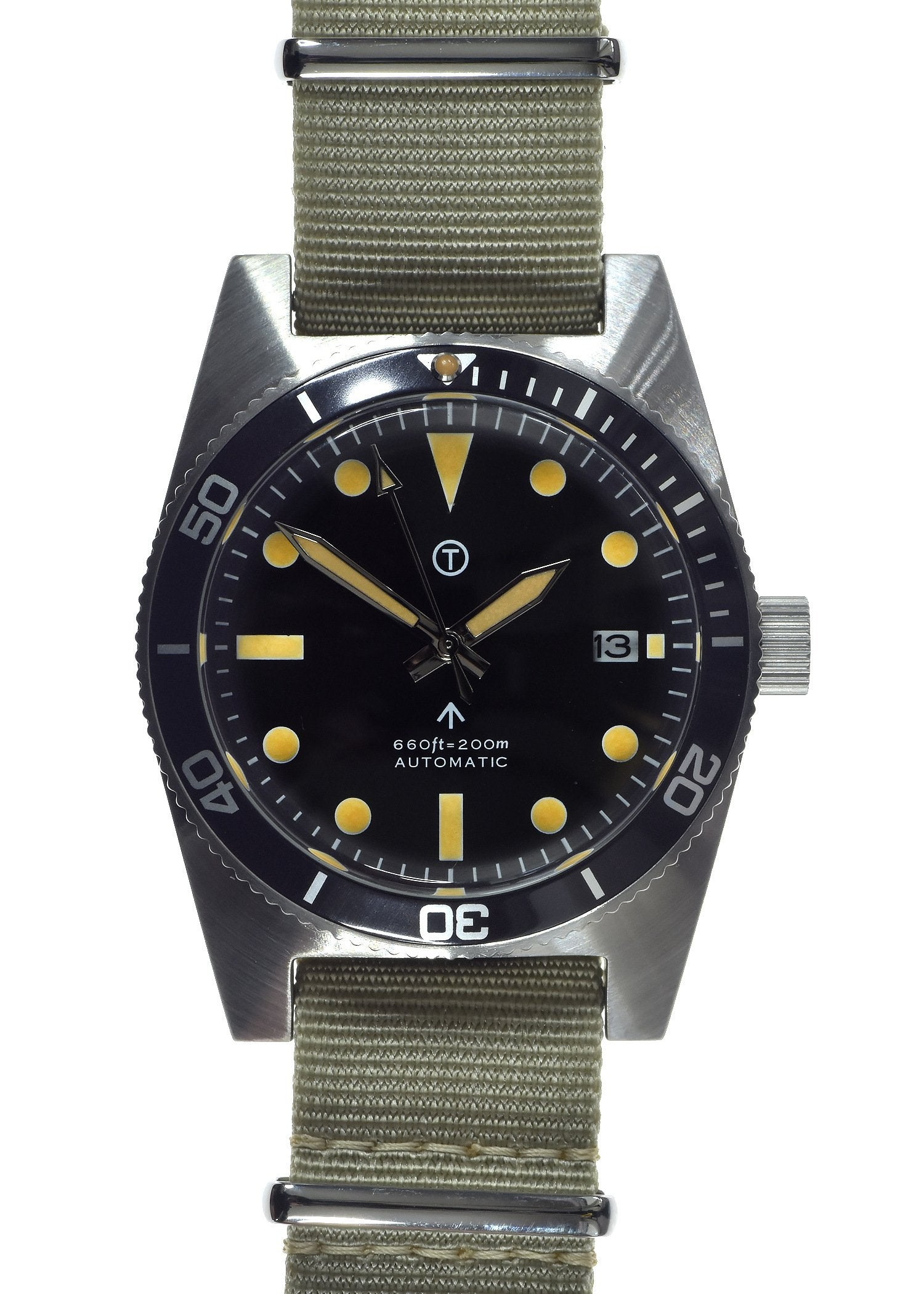 Military Industries 1970s Pattern Automatic 24 Jewel Stainless Steel Divers Watch