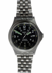 MWC G10 300m 1000ft Water resistant 12/24 Hour Steel Military Watch with Sapphire Crystal on Bracelet - Slight Mark on Bracelet