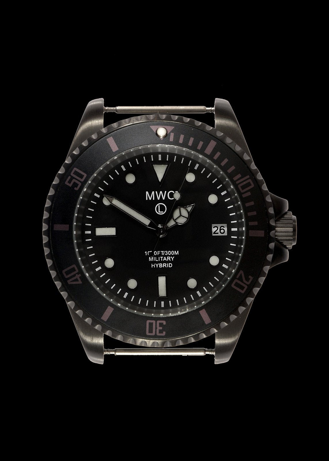 MWC 300m / 1000ft Black PVD Hybrid Military Divers Watch - Might Need Capacitor Recharge or Replacement