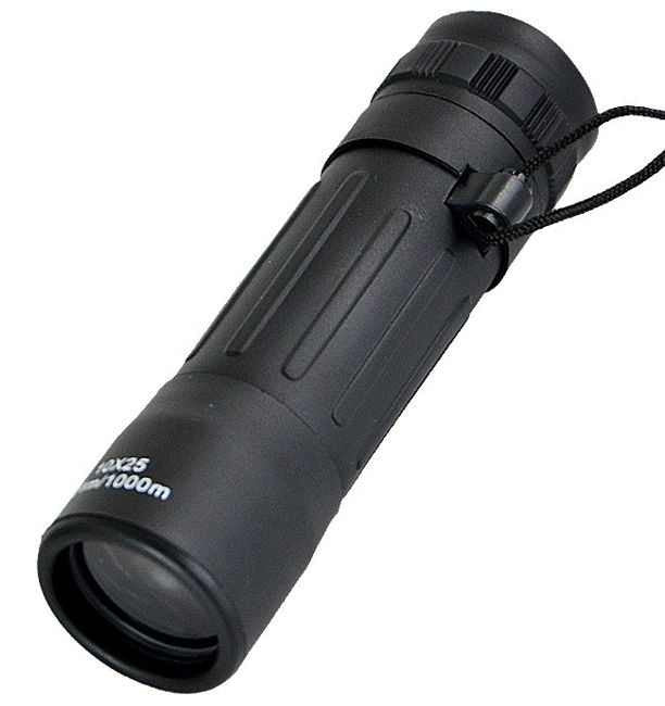 Rubberized 10 x 25 Monocular with Carrying Case