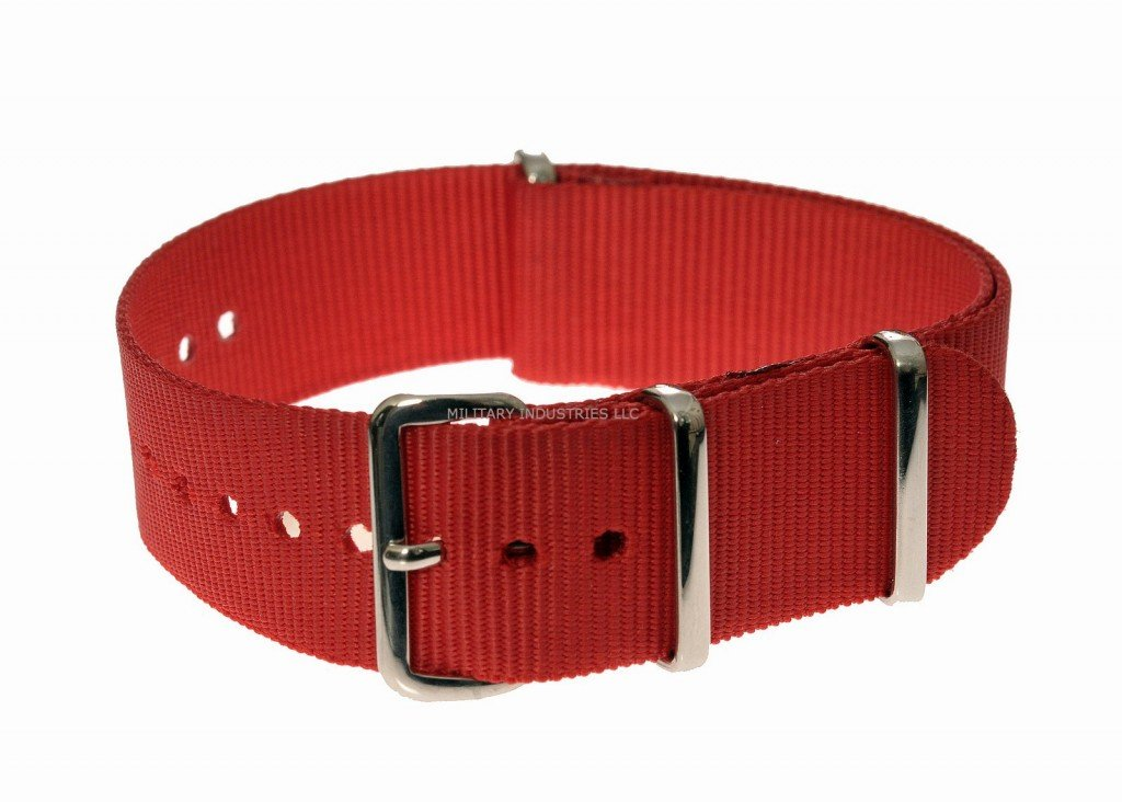Red Ballistic Nylon NATO Military Watch Strap