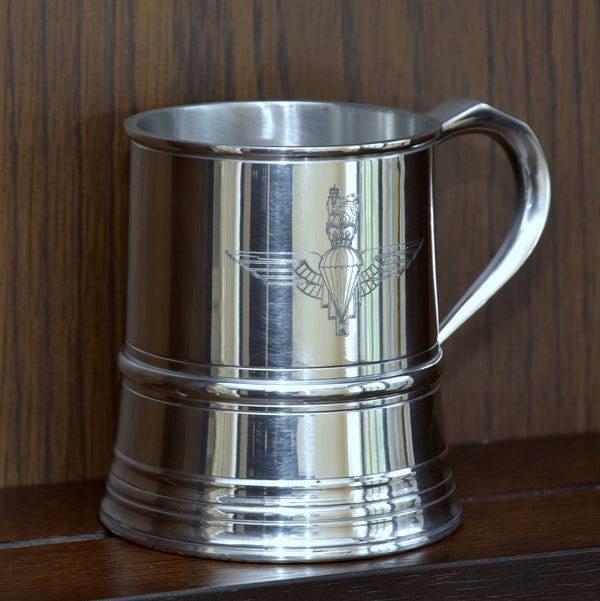 One Pint Parachute Regiment Solid Pewter Tankard - Identical weight and dimensions as the manufacturers 19th century originals