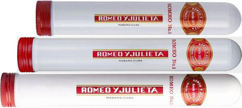 Set of 3 Romeo y Julieta Empty Cuban Cigar Tubes - 1 x No1, 1 x No2 and 1 x No3 - Ideal for Collectors