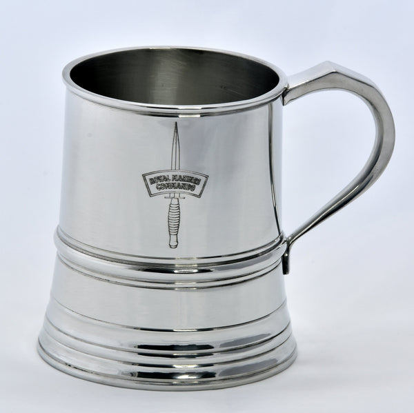 One Pint Royal Marines Solid Pewter Tankard - Identical weight and dimensions as the manufacturers 19th century originals
