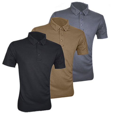 Tactical Polo Shirts for Security Staff / Police Etc (Black, Titanium or Brown)