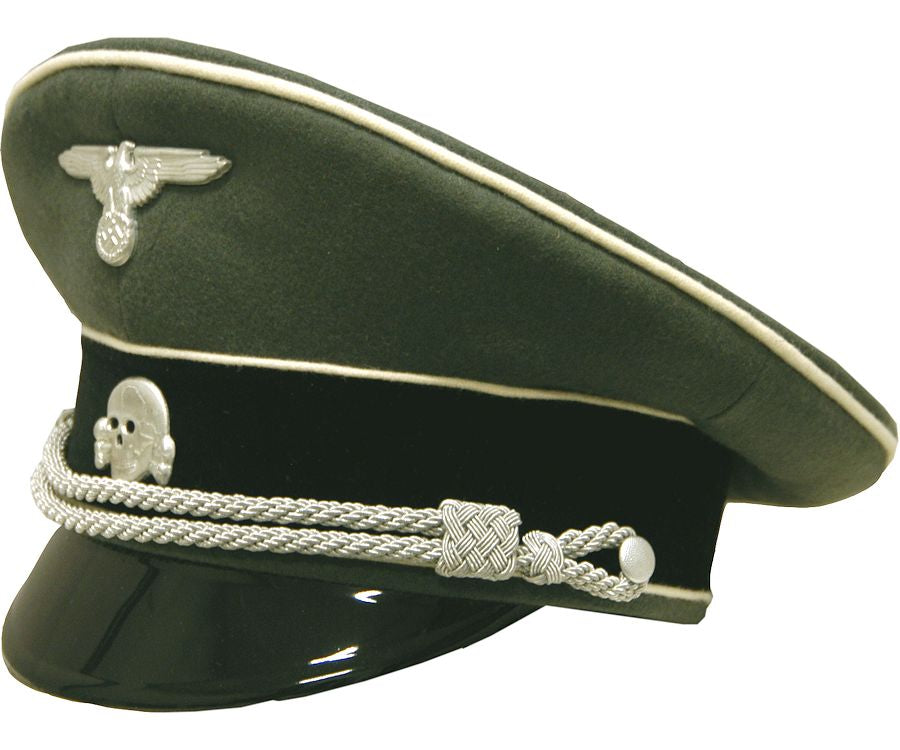 High Quality Reproduction WW2 Waffen SS Infantry Officers Visor Cap with Piping