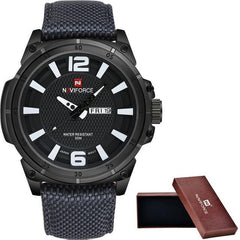 NAVIFORCE Mens Watches Top Brand Luxury Fashion Sports Watches Men 3D Scale Nylon Strap Army Military Quartz Watch+Original box