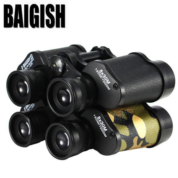 BAIGISH  8X30  Hd wide-angle Central Zoom  Military Metal Binoculars Telescope  Binocle  Field-glasses For Hunting Scope
