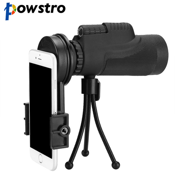 Powstro HD 12x50 Phone Telescope Lens Phone Monocular Camera Lens with Tripod Phone Clip Telescope For Telescope Lens Smartphone
