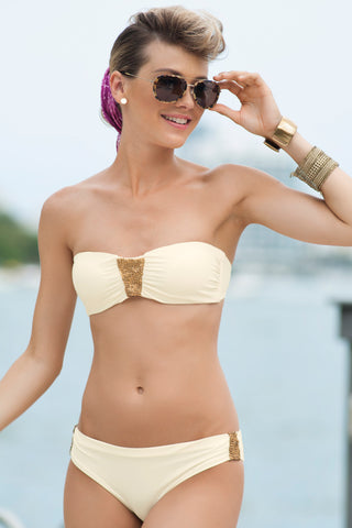 609a2a42e0 Touché, Two Piece/Bikini Hand Made Clasico Ivory Bandeau Swimsuit, Ladies  Swimwear