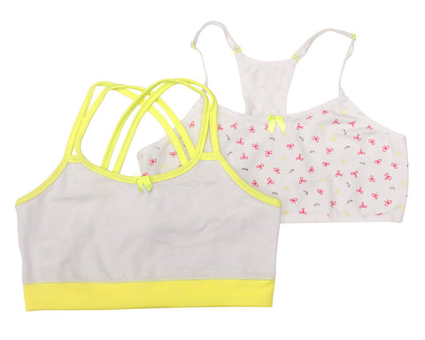 Formas Intimas 14650 Nenitas Girl's Vest Top 2-Pack, White/Yellow