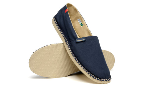 Havaianas Authentic Brazil, Origine III Unisex Canvas Shoe, Navy Blue/Beige