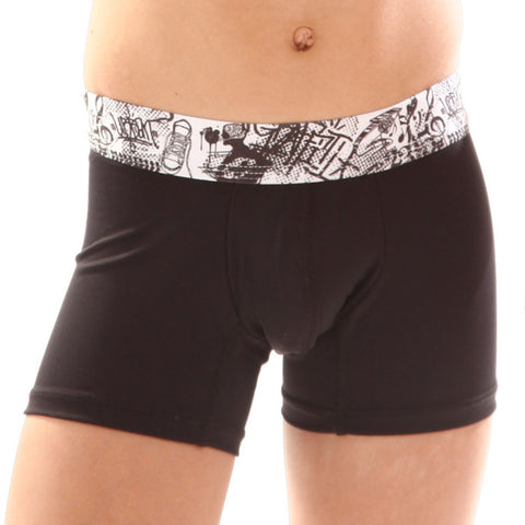 Xtremen Sports Junior Boxer Music, Boy's Support Underwear, Black