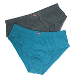Formas Intimas 90005 Hispano Men's Brief 2-Pack, Dark Grey/Petrol Blue