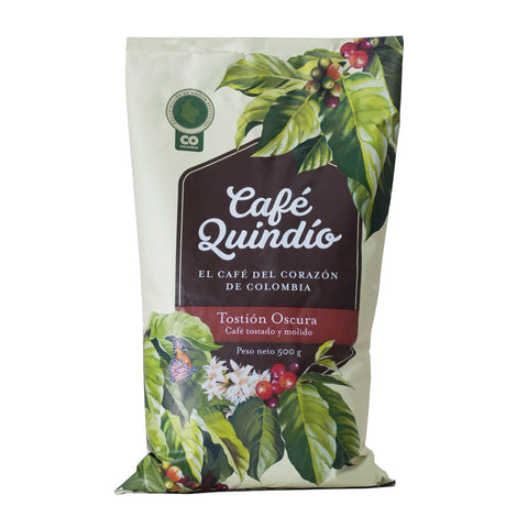 Café Quindío 100% Colombian Traditional Dark Roast Ground Coffee, 500g Pack