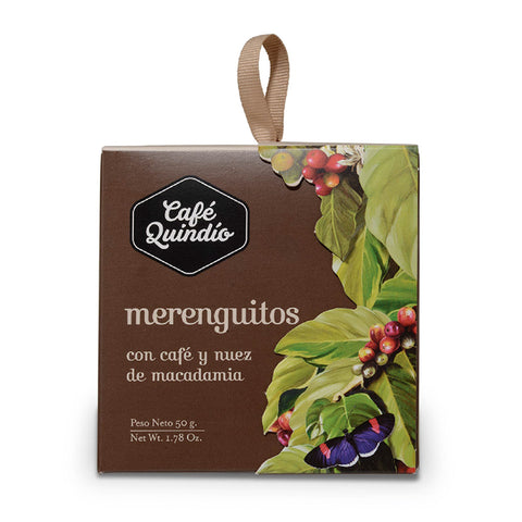 Café Quindío Merenguitos Coffee and Macadamia Flavoured Meringues, 50g Box