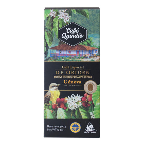 Café Quindío 100% Colombian Génova Whole Bean Coffee, 340g Pack