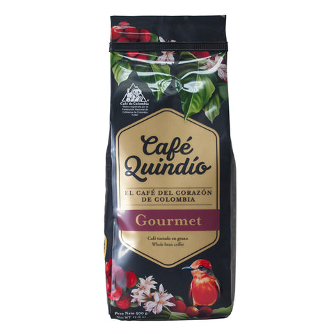 Café Quindío 100% Colombian Excelso Gourmet Whole Bean Coffee, 500g Pack