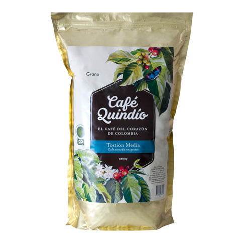 Café Quindío 100% Colombian Traditional Medium Roast Whole Bean Coffee, 2.5kg Pack