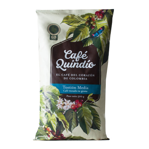 Café Quindío 100% Colombian Traditional Medium Roast Whole Bean Coffee, 500g Pack