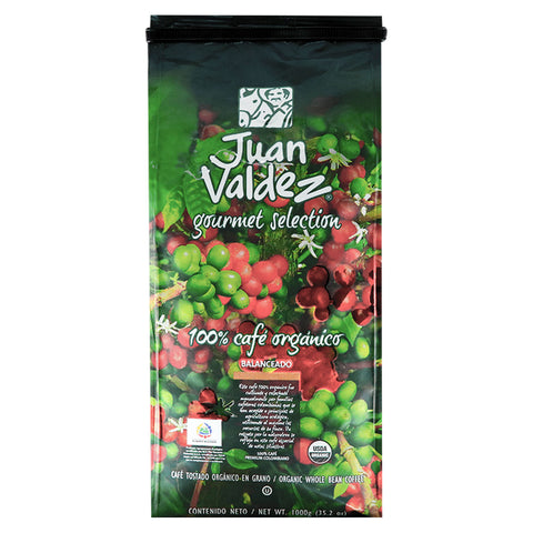 Juan Valdez® Organic Whole Bean Coffee, 1KG Pack
