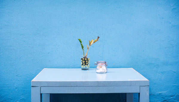 blue table and blue wall