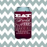 Wedding Can Insulators - Eat, Drink and Be Married  - Qty. 50 - Wedding Favors Plus - 1