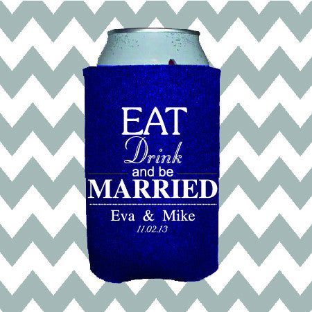Wedding Can Insulators - Eat Drink and Be Married  - Qty. 250 - Wedding Favors Plus - 1