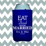 Wedding Can Insulators - Eat Drink and Be Married  - Qty. 25 - Wedding Favors Plus - 1