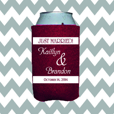 Wedding Can Insulators - Just Married  - Qty. 25 - Wedding Favors Plus - 1