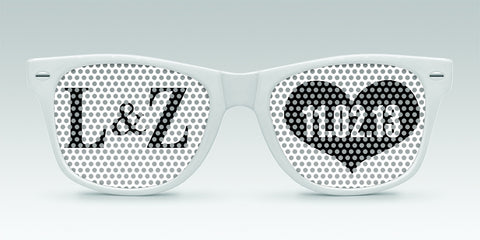 Personalized Wedding Sunglasses - Initials and Date - Qty. 250 - Wedding Favors Plus - 1