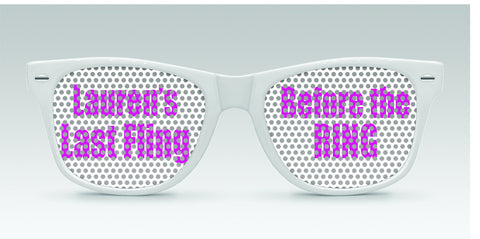 Personalized Bachelorette Sunglasses - Last Fling Before the Ring - Qty. 25 - Wedding Favors Plus - 1