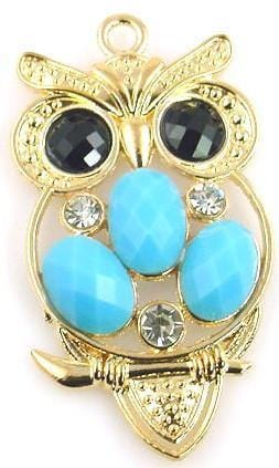 1 gold owl charm 2 hole slider bead 10416-M2