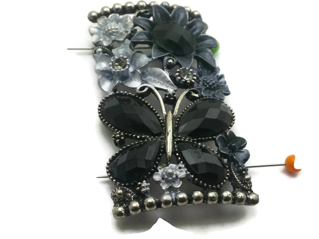 1 Large Focal Jet Black Gun Metal Flower and Butterfly Unique Design