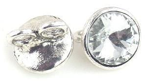 1 shimmery silver glass 2 hole bead 9766-H1