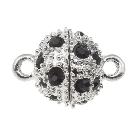 1_Silver_Plated_Magnetic_Clasp_Black_Rhinestone_Single-strand_17_x_12mm