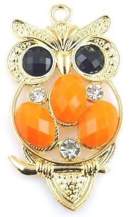 1 two hole lucite owl charm slider bead 10414-M2