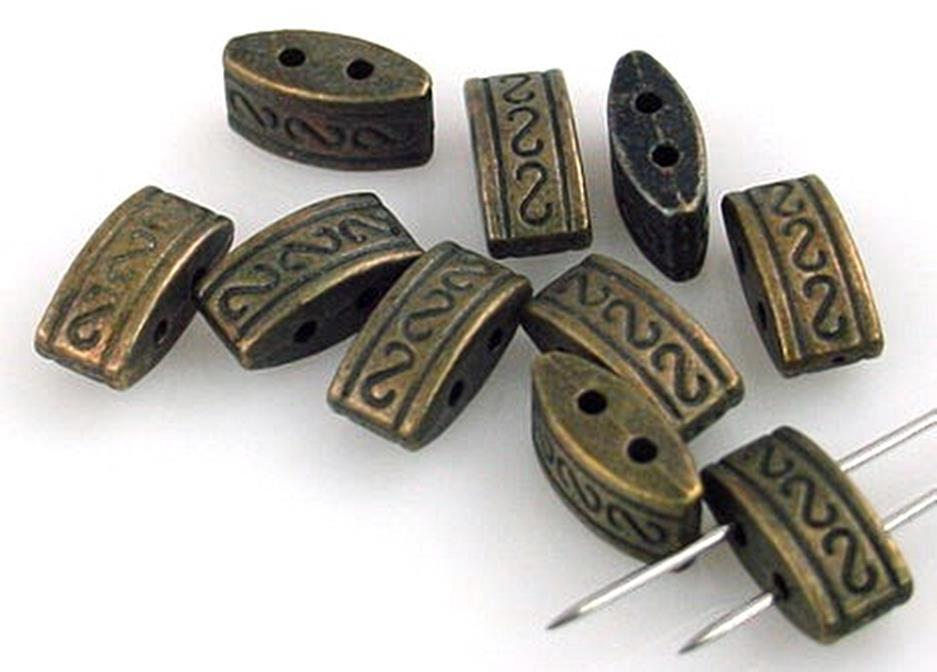 10 Antique Brass Tribal Style 2 Hole Slider Beads 10941-n7