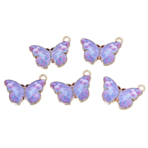 "10 Beautiful Purple Butterfly Charms with Enamel Gold 20mm( 6/8"") x 15mm( 5/8"")"