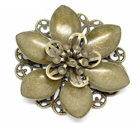 10 Bronze Flower Filgree Designs 4.5cm x 4.2cm